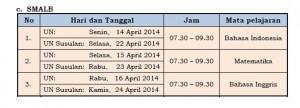 Jadwal Ujian 2014 SMALB
