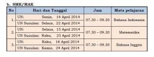 Jadwal Ujian 2014 SMK