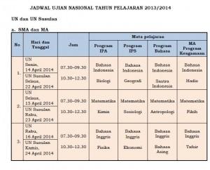 Jadwal ujian 2014 SMA/MA